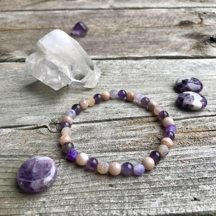 Amethyst, Agate and Peach Moonstone Wellness Bracelet by VitaminSeaJPS on Etsy https://www.etsy.com/ca/listing/572314621/amethyst-agate-and-peach-moonstone