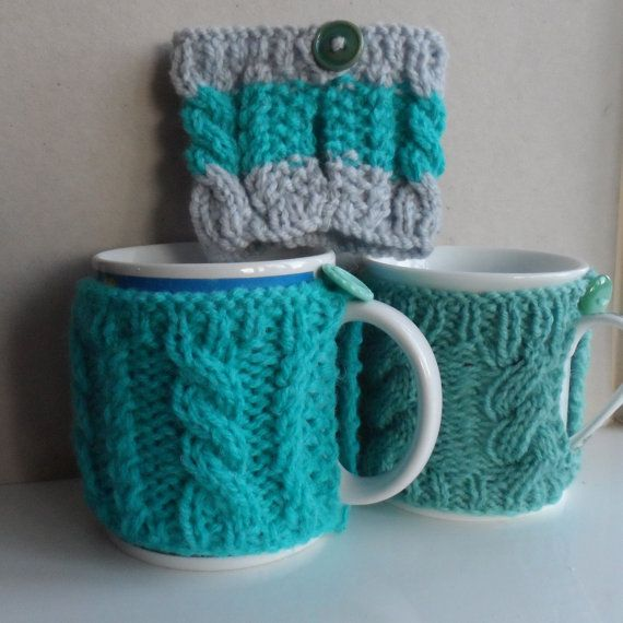 Hand knitted mug hug or cup cosy cozy warmer by RowanKnits on Etsy