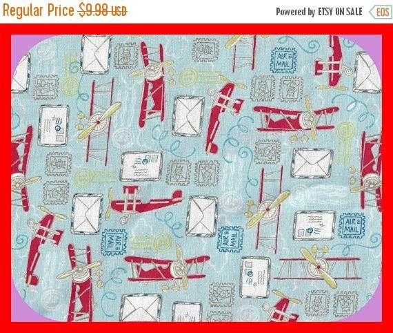 BLACK FRIDAY SALE Airmail and Airplanes Fabric Calico Cotton