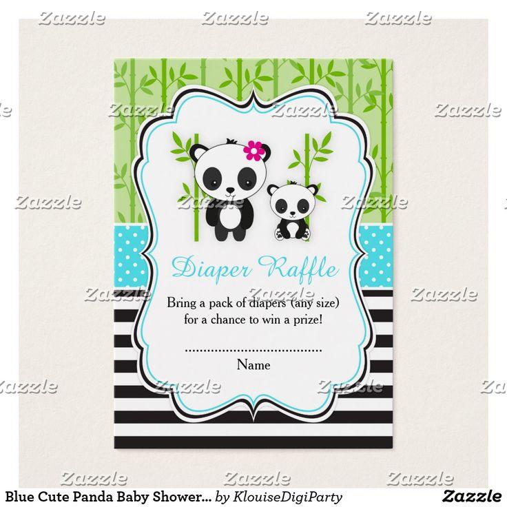 Blue Cute Panda Baby Shower Diaper Raffle Business Card