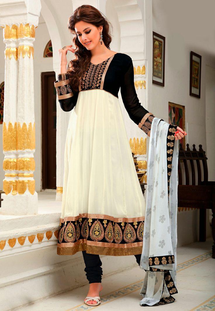 Off White Faux Georgette Anarkali Churidar Kameez @ $69.13