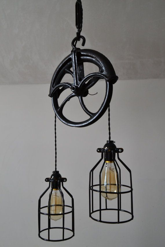 Repurposed Barn Pulley Industrial Light by WestNinthVintage