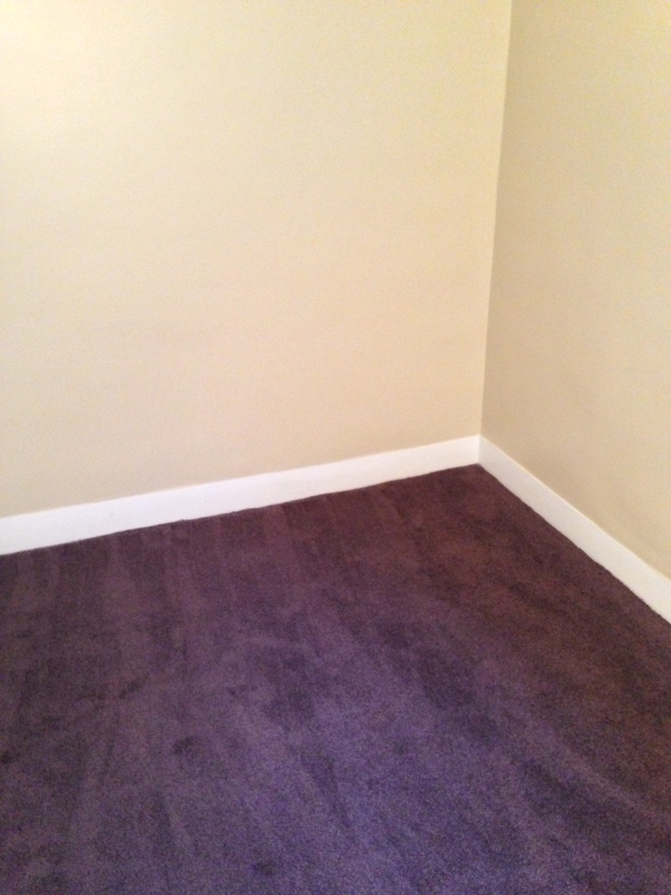 Light tan walls with white trim and dark burgundy carpet for Bedroom ideas with burgundy carpet