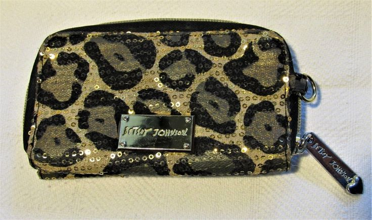 12.86$  Buy now - http://vihnl.justgood.pw/vig/item.php?t=b4031v23700 - Betsey Johnson Animal Print Zip Up Wallet Gold Sequins 12.86$