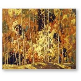 Autumn Tapestry by Franklin Carmichael (1890-1945)- Canadian painter of hills, islands, and dying/dead trees.