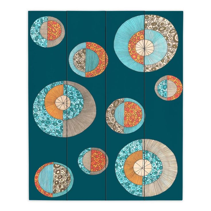 Dianochedesigns circles mcm ii by valerie lorimer graphic art on wrapped canvas size