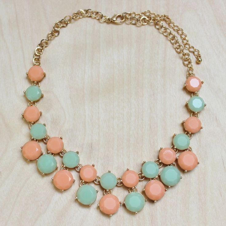 Lazio Peach and Mint Necklace - Possible bridesmaid necklace
