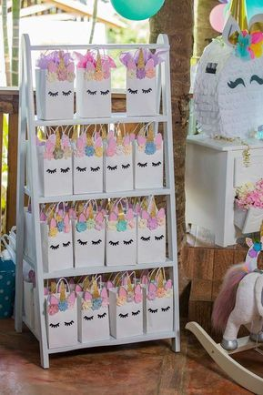 Loving the party favor bags at this Unicorn Birthday Party!! See more party ideas and share yours at CatchMyParty.com #catchmyparty #unicornbirthdayparty #partyfavor #girlbirthday