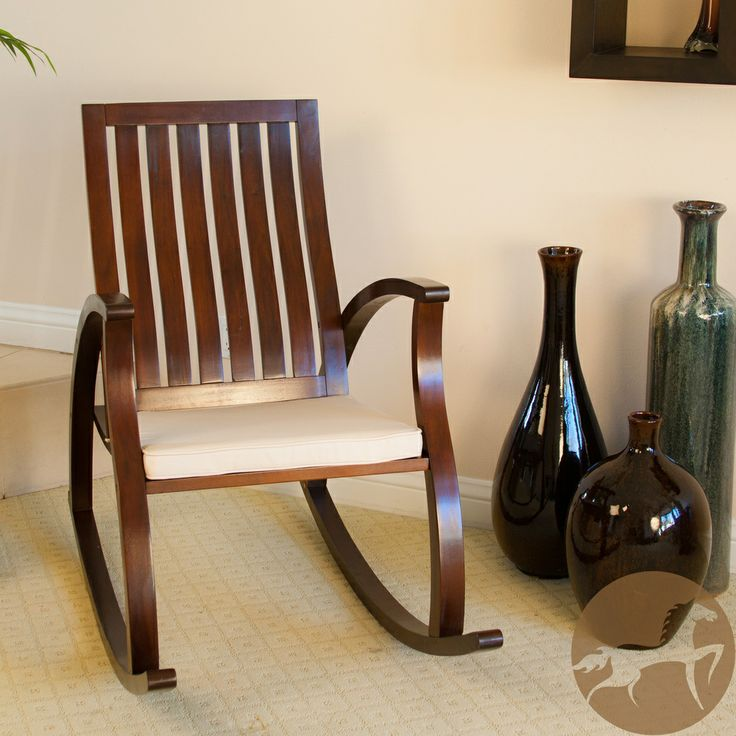 Home Abraham Brown Mahogany Wood Rocking Chair w/ Cushion  Overstock ...