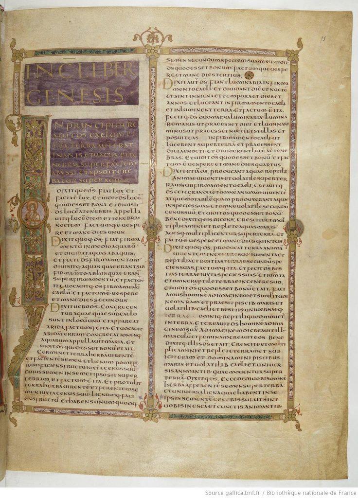 Titre : Biblia [Bible de Vivien, dite Première Bible de Charles le Chauve]. Date d'édition : IX Latin 1 11r