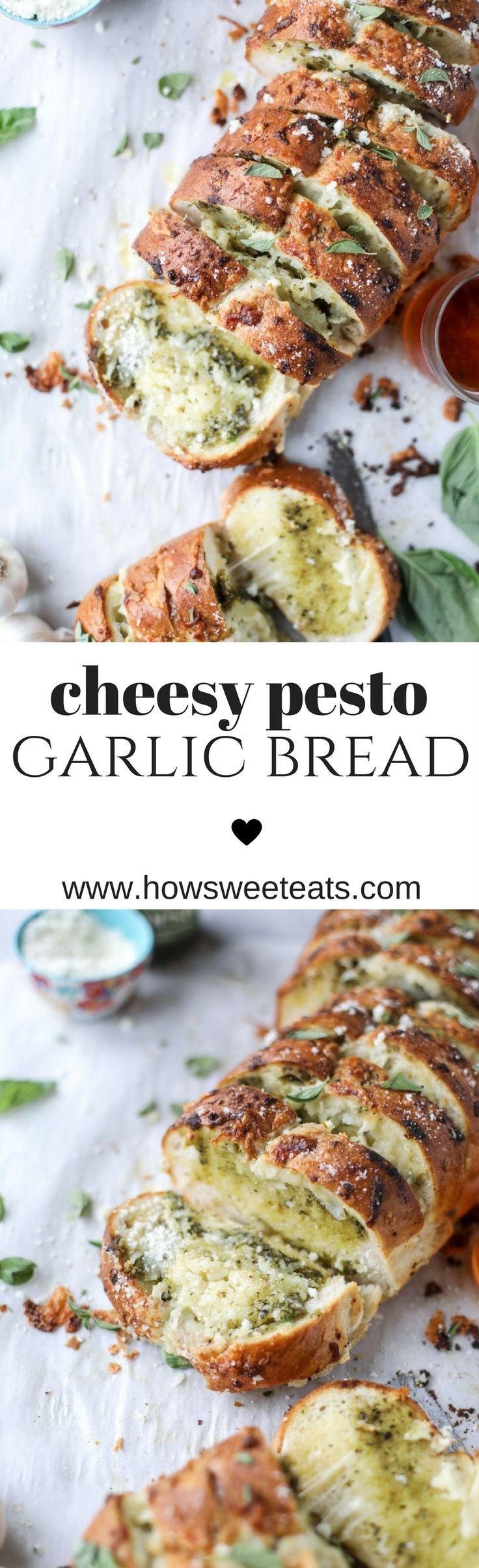 Cheesy Pesto Garlic Bread (video!) I howsweeteats.com