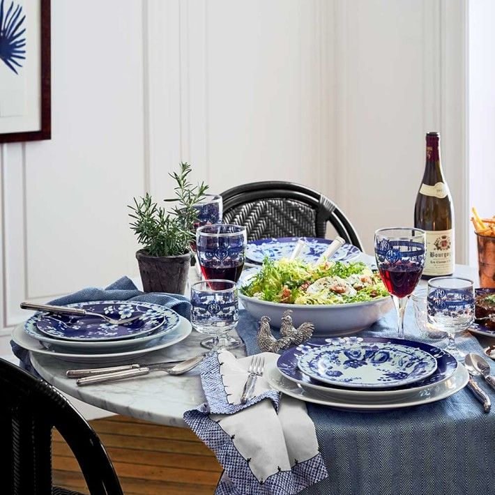Wm Sonoma French Blue Bouquet Dinner Plates, Floral