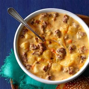Cheeseburger Soup Recipe -A local restaurant serves a similar soup but wouldn't share its recipe with me. So I developed my own, modifying a recipe for potato soup. I was really pleased at the way this all-American soup turned out. —Joanie Shawhan, Madison, Wisconsin