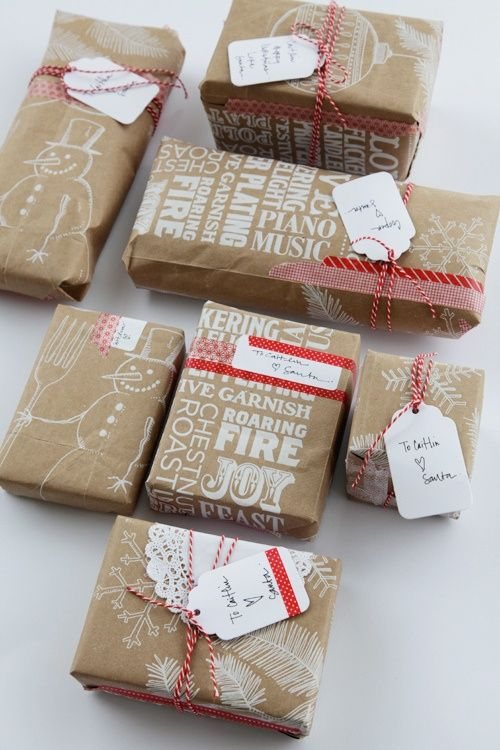 Christmas wrapping white lettering