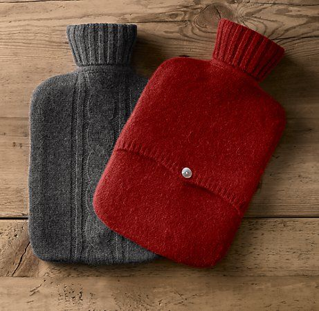 Make a cable-knit hot water bottle holder by upcycling an old sweater!