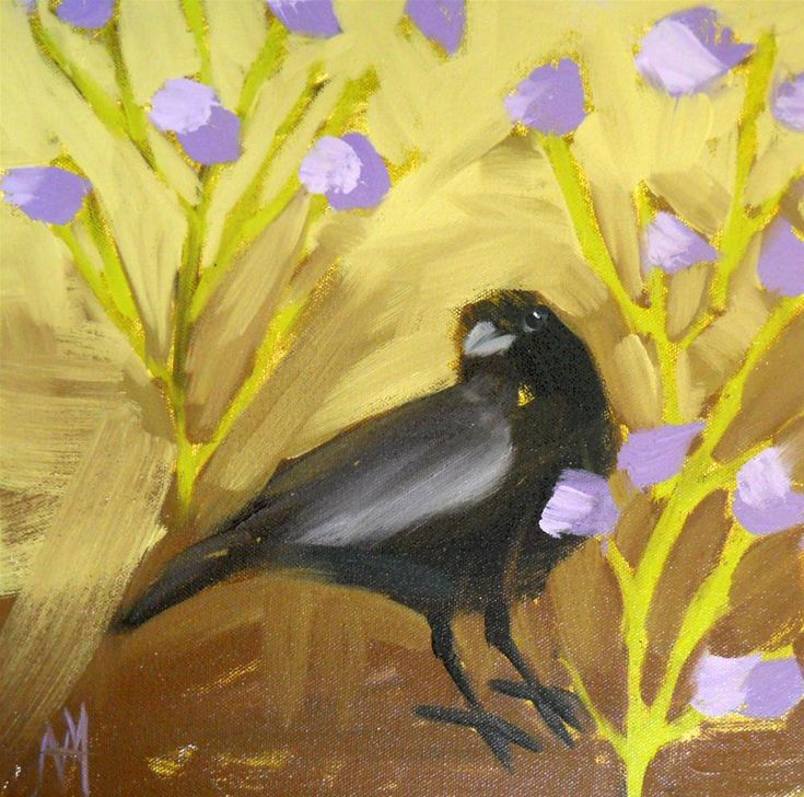 Angela Moulton - Crow and Purple Flowers | BLACKBIRD ...