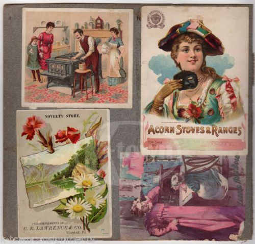 ACORD-STOVES-SCOTT-039-S-EMULSION-WESTFIELD-PA-amp-MORE-ANTIQUE-VICTORIAN-TRADE-CARDS