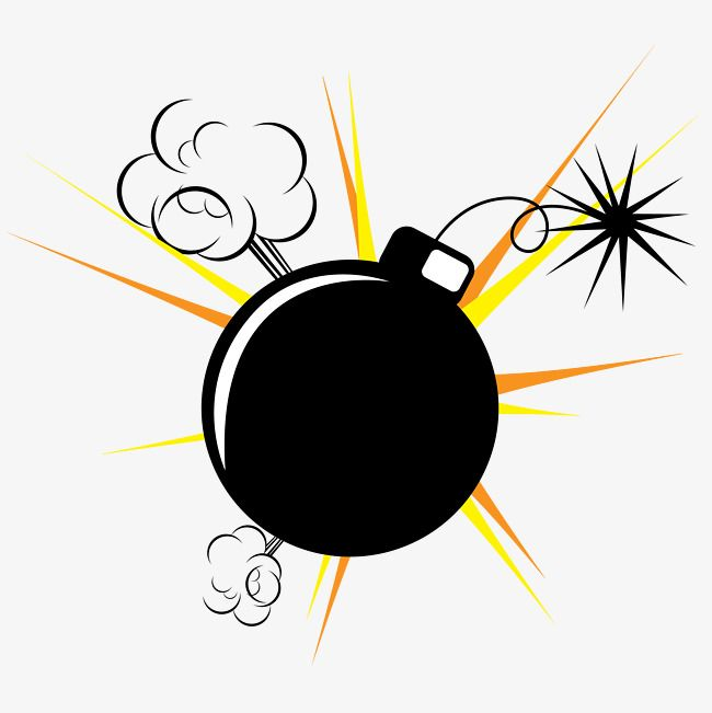 Bomb Explosion Hand Painted Cartoon Bomb Explosion Png