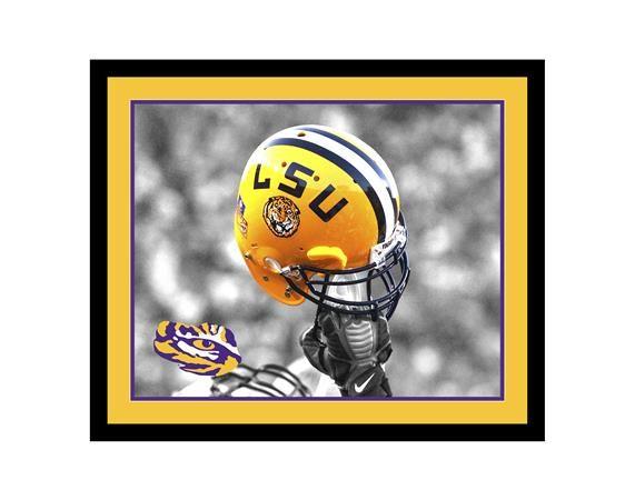 Framed LSU Helmet Art