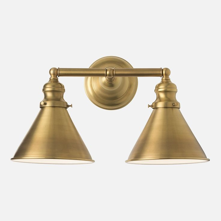 Montclair Wall Double Sconce Natural Brass Schoolhouse