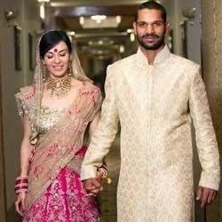 Wedding photo of Shikhar Dhawan and wife, Ayesha Mukherjee.