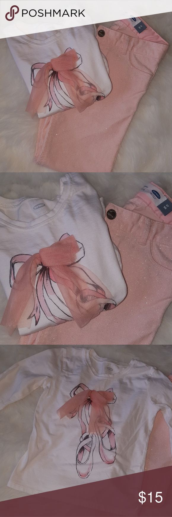 Old Navy Outfit White graphic tee with peach ribbon design and peach jeans with sparkle detail. Worn a few times. Still in great condition. Old Navy Matching Sets