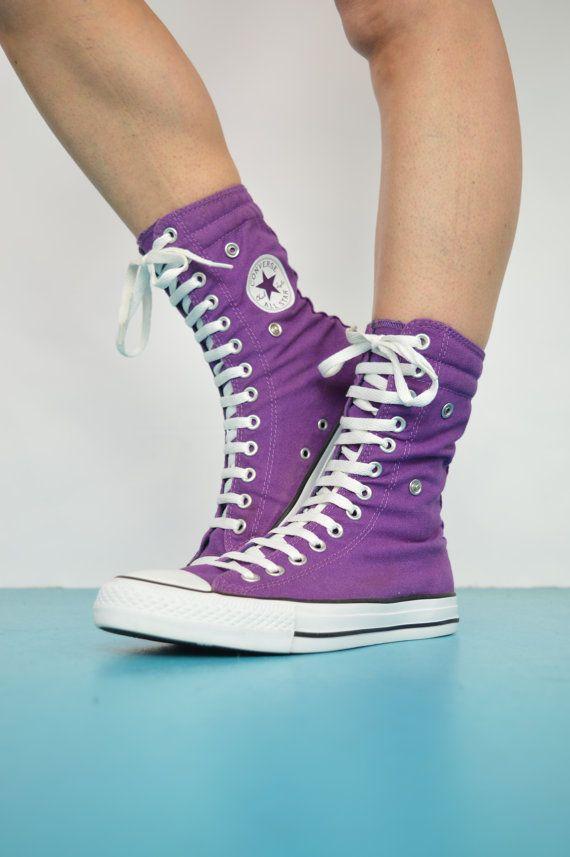 Vintage des années 90 violet & bleu marine Converse X-Hi Hi-dessus. Étiquette de femmes taille UK 7 US 9 EU 40. Ces Converse X-Hi Hi-dessus