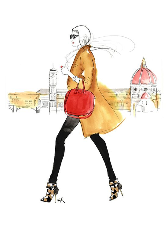 Florence_girl-walking_fashion_illustration_Melbourne by Angie Rehe