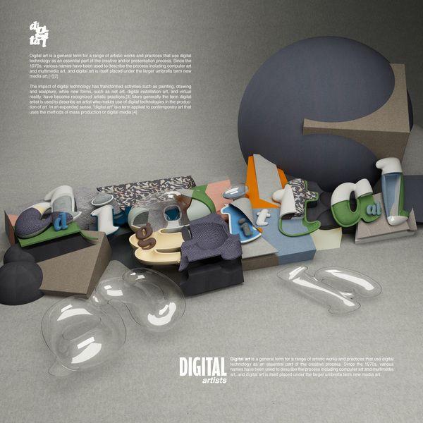 3D Digital type by Rizon Parein, via Behance