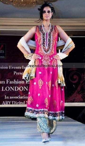 Pakistani Latest Trend – Shocking Pink A-line Dress | Latest Pakistani Fashion 2014 Bridal Dresses Formal Wear