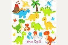 Cute Dinosaur Clipart + Vectors by Avenie Digital on @creativemarket