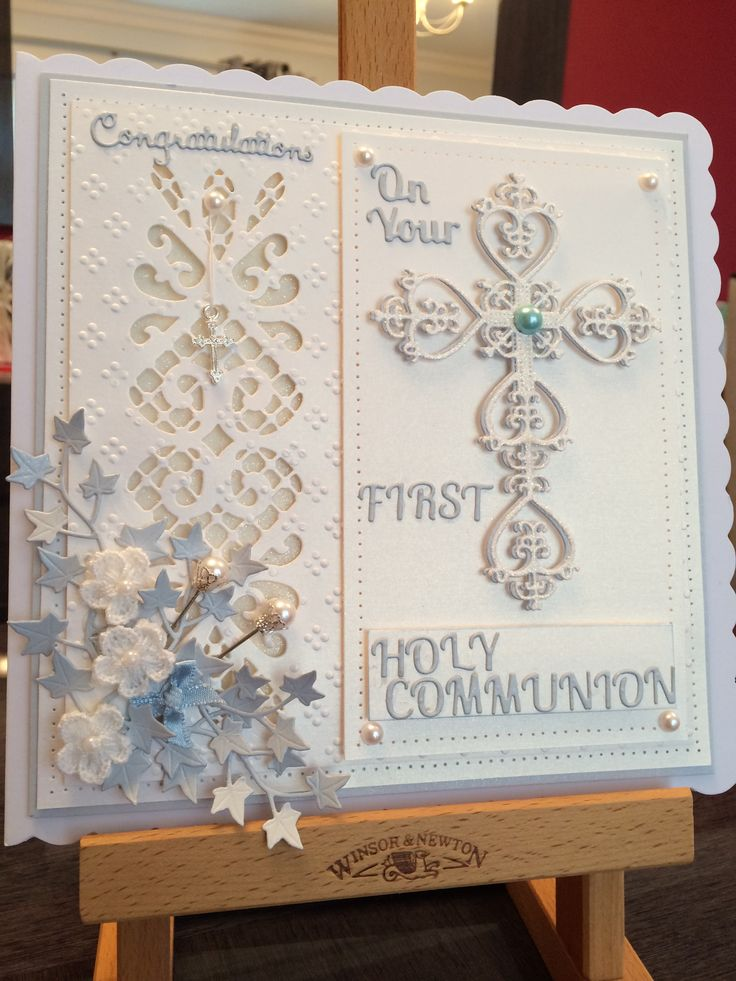 My first order for a Holy Communion card. I have used Sue Wilson and Robert Addams dies.
