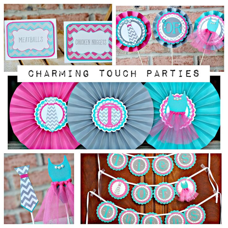 Gender Reveal Party-In-A-Box by Charming Touch Parties. Deluxe and charming 5 piece kit. Hot pink, turquoise and grey chevron. Customize. by CharmingTouchParties on Etsy