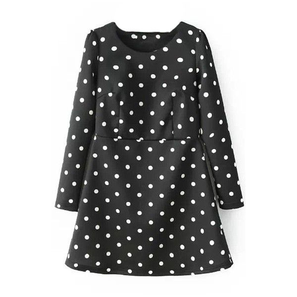 Polka Dot Round Neck Long Sleeve Black Short Winter Dress (€21) ❤ liked on Polyvore featuring dresses, black dress, black day dress, black dot dress, round neck dress and black longsleeve dress