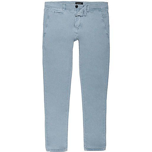 Blue stretch super skinny chino trousers - sale preview - sale - men
