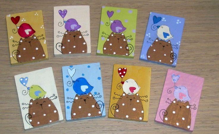 SALDO ! 8 calamite legno dipinte a mano gatti - hand painted wood magnets cats