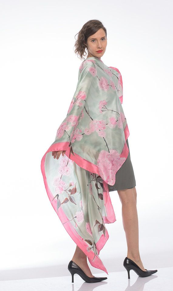 Silk satin shawl- Cherry Blossom/ Floral wrap/ Sakura satin shawl. Floral shawl wedding. Hand painted scarf. Wedding accessory. Bridal shawl in pastel pink and gray. Floral scarves/ Painted oblong shawl. Pastel pink and grey scarf/ Woman accessory in pink and gray. Japanese garden scarf. Transitional scarves/ Luxury floral scarf OOAK. unique handmade scarves Extravagant silk satin shawl, wrap. This light gray and pale pink floral scarf is a part of my latest luxur...