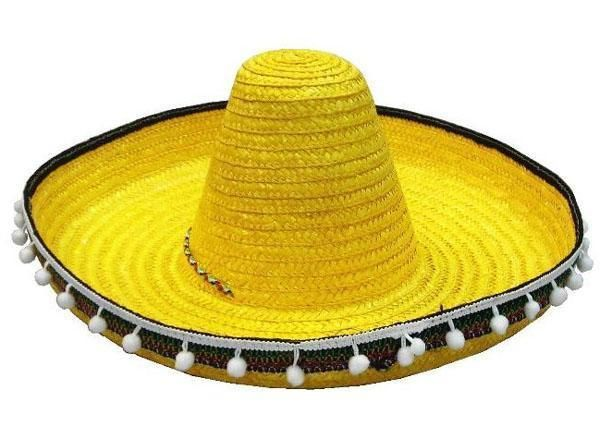 Mexican Embroidered Sombrero Straw Hat Mens Spanish Fiesta Fancy Dress Costume