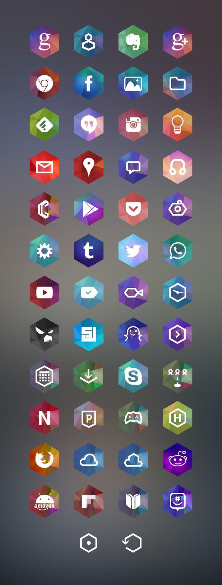 Hexagon Android Icon Set