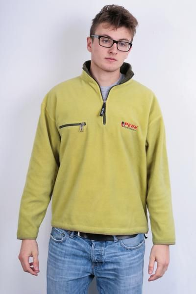 Peak Performance Mens M Fleece Top Jacket Aquamarine Zip Neck - RetrospectClothes