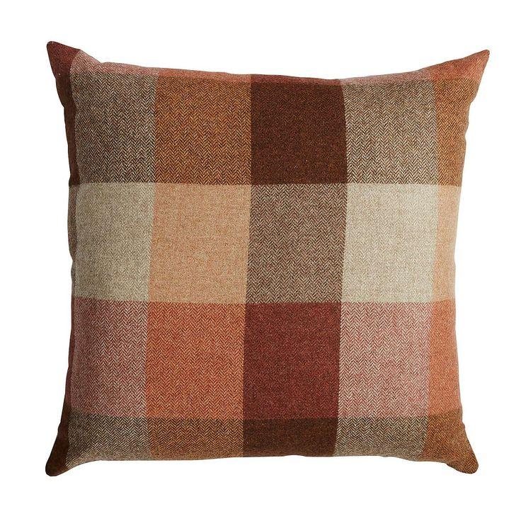 Heritage Orange Check Cushion | Dunelm