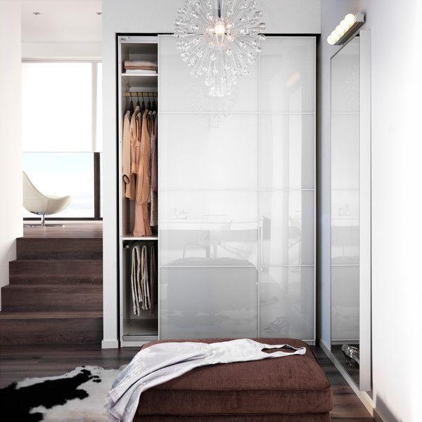 Ikea Pax Garderobe Mit Innenorganisatoren Weiss Farvik Weissglas