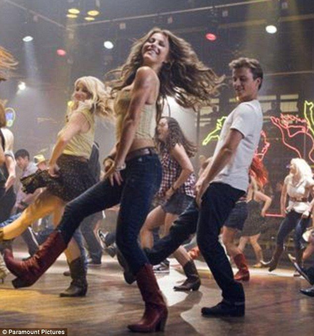 Country Line Dancing scene. Camo Bell Hats with Jeans and cowboys boots! Need GOOD Dancers!