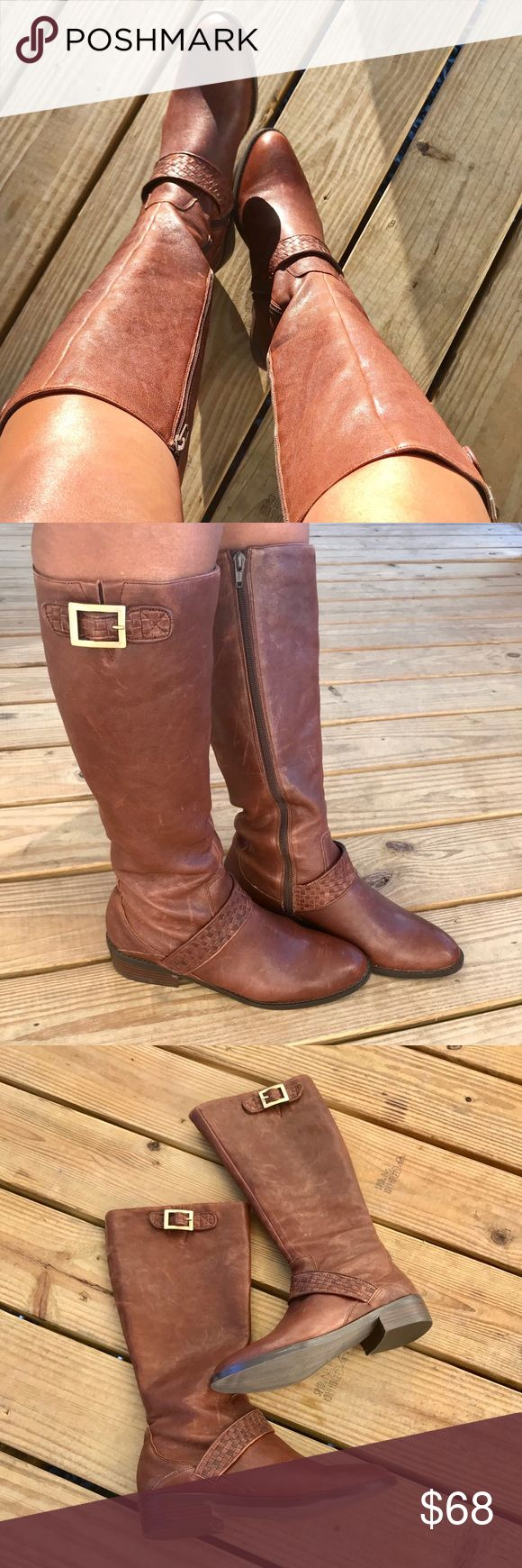 Jessica Simpson Rider Boots!! Brown leather rider boots with front weaving detail. Has some distressing to leather that adds lots of character!! Soles are like new! Side zip. 10 inch shaft. 1 inch heel. 7.5 inch calve opening. Jessica Simpson Shoes