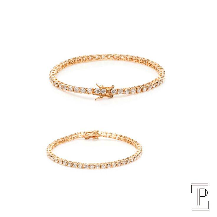 Jewelry bracelete ouro amarelo com zircônia