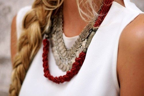 red and silver: Fashion, Style, Layered Necklace, Jewelry, Necklaces, Accessories, Hair