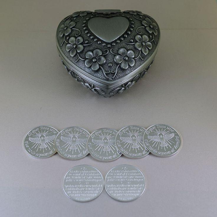 Arras Espíritu Santo con cofre Heart Roses de 21 mm #bonito #cofre de #arras #ceremonia de boda #religiosa puedes #comprar en #ondinecollection en el #df #tienda
