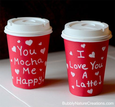 Valentine's Day coffee cup ideas!