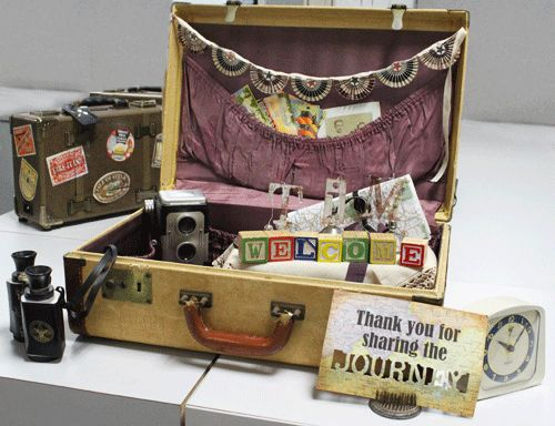 travel table decor: vintage suitcase filled with travel items (old camera, map, guidebooks, etc...)