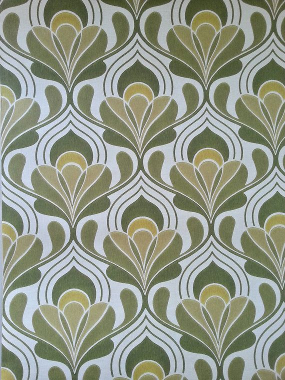"""FULL ROLL / vintage WALLPAPER 1970s / original 70s by dutchdetails  $65/roll  30' x 20"""""""